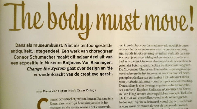 The body must move: dans in Museum Boijmans (Dans Magazine)