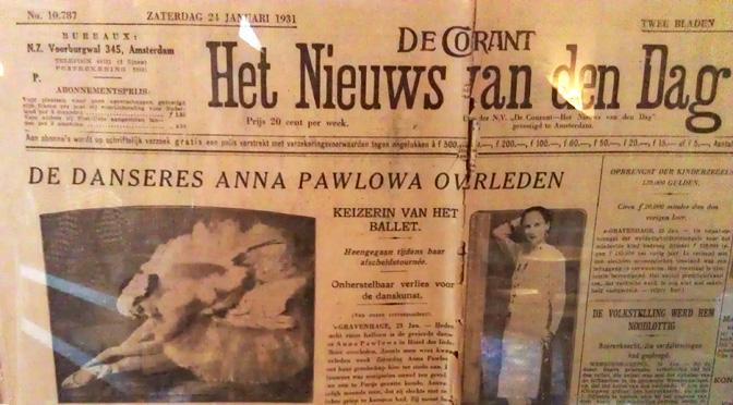 Krant met overlijdensbericht Anna Pavlova (foto CultPers)
