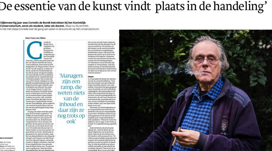 Artikel Cornelis de Bondt uit Den Haag Centraal (fragment)